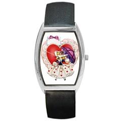 Vintage Valentine Girl Tonneau Leather Watch