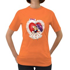 Vintage Valentine Girl Womens' T-shirt (Colored)