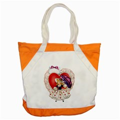 Vintage Valentine Girl Accent Tote Bag
