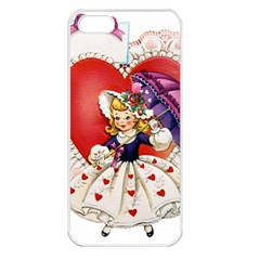 Vintage Valentine Girl Apple iPhone 5 Seamless Case (White)