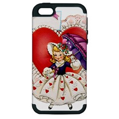 Vintage Valentine Girl Apple iPhone 5 Hardshell Case (PC+Silicone)