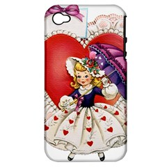 Vintage Valentine Girl Apple iPhone 4/4S Hardshell Case (PC+Silicone)