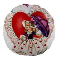 Vintage Valentine Girl 18  Premium Round Cushion