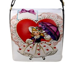 Vintage Valentine Girl Flap Closure Messenger Bag (Large)