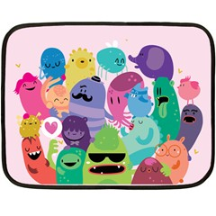 Happy monsters Mini Fleece Blanket (Two Sided)