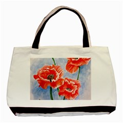 Poppies Twin-sided Black Tote Bag
