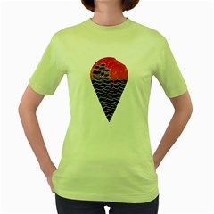 Sunset Ice Cream Womens  T-shirt (Green)