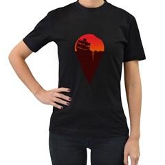 Sunset Ice Cream Womens' T Shirt (black)