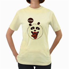 Hello Panda  Womens  T-shirt (Yellow)