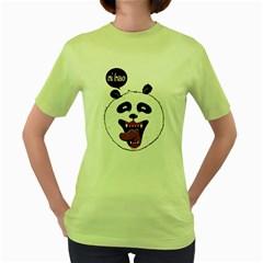 Hello Panda Womens  T-shirt (Green)