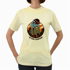 Flying Scooter  Womens  T Shirt (yellow)