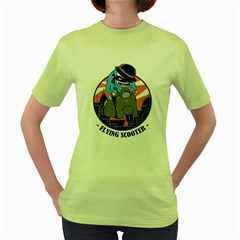 Flying Scooter Womens  T-shirt (Green)