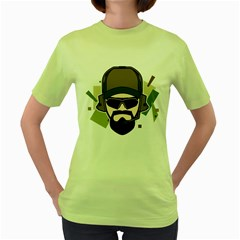 Tactical Beard Womens  T-shirt (Green)