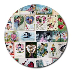 Vintage Valentine Cards 8  Mouse Pad (Round)