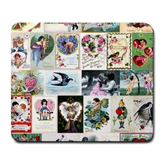 Vintage Valentine Cards Large Mouse Pad (Rectangle)