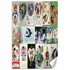 Vintage Valentine Cards Canvas 20  x 30  (Unframed)