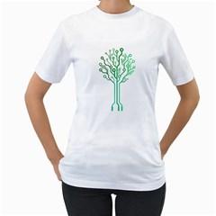 digital tree Womens  T-shirt (White)