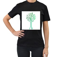 digital tree Womens' Two Sided T-shirt (Black)