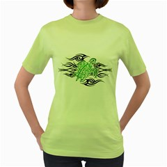 Tribal Sea Turtle Womens  T-shirt (Green)