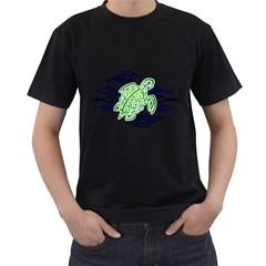 Tribal Sea Turtle Mens' T Shirt (black)