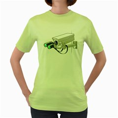 Watching You Womens  T-shirt (Green)