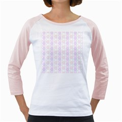 Allover Graphic Soft Pink Women s Long Cap Sleeve T Shirt (white)