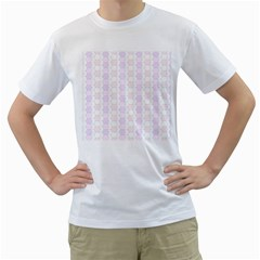 Allover Graphic Soft Pink Mens  T-shirt (White)