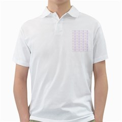 Allover Graphic Soft Pink Mens  Polo Shirt (White)