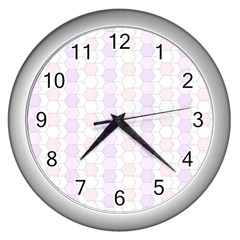 Allover Graphic Soft Pink Wall Clock (Silver)