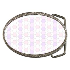 Allover Graphic Soft Pink Belt Buckle (oval)