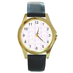 Allover Graphic Soft Pink Round Leather Watch (Gold Rim)