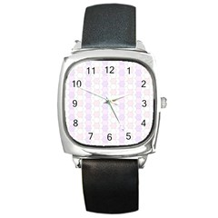 Allover Graphic Soft Pink Square Leather Watch