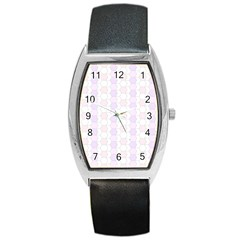 Allover Graphic Soft Pink Tonneau Leather Watch