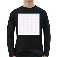 Allover Graphic Soft Pink Mens' Long Sleeve T-shirt (Dark Colored)