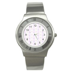 Allover Graphic Soft Pink Stainless Steel Watch (Slim)