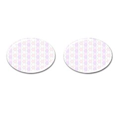 Allover Graphic Soft Pink Cufflinks (oval)