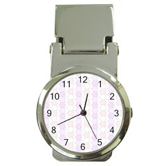 Allover Graphic Soft Pink Money Clip With Watch