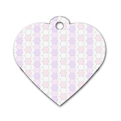 Allover Graphic Soft Pink Dog Tag Heart (One Sided)