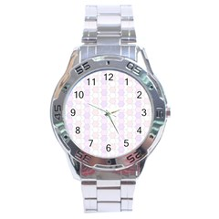 Allover Graphic Soft Pink Stainless Steel Watch