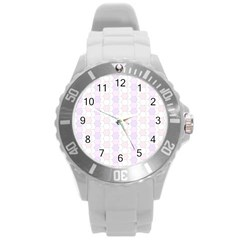 Allover Graphic Soft Pink Plastic Sport Watch (Large)