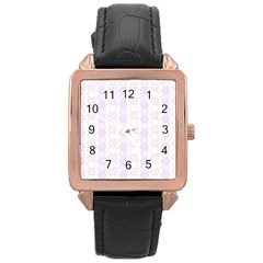 Allover Graphic Soft Pink Rose Gold Leather Watch