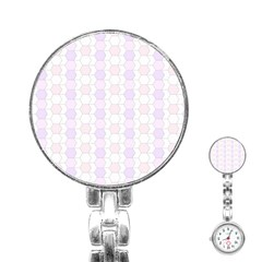 Allover Graphic Soft Pink Stainless Steel Nurses Watch