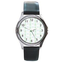 Allover Graphic Soft Aqua Round Leather Watch (Silver Rim)