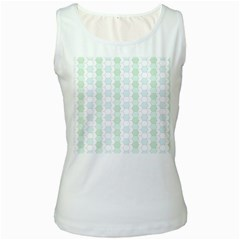 Allover Graphic Soft Aqua Womens  Tank Top (White)