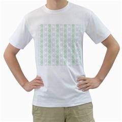 Allover Graphic Soft Aqua Mens  T-shirt (White)
