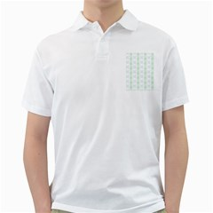 Allover Graphic Soft Aqua Mens  Polo Shirt (white)