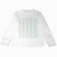 Allover Graphic Soft Aqua Kids Long Sleeve T Shirt