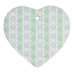Allover Graphic Soft Aqua Heart Ornament (Two Sides)