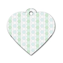 Allover Graphic Soft Aqua Dog Tag Heart (Two Sided)