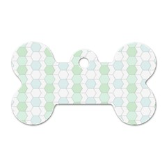 Allover Graphic Soft Aqua Dog Tag Bone (Two Sided)
